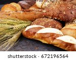 different kinds of bread and... | Shutterstock . vector #672196564