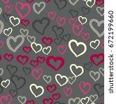 pink hearts seamless vector... | Shutterstock .eps vector #672199660