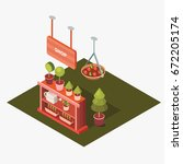 vector isometric flower shop.... | Shutterstock .eps vector #672205174