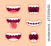 Funny Cartoon Mouths Set With...