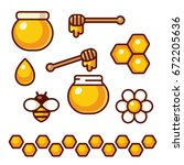 honey icon set. bee and flower  ... | Shutterstock .eps vector #672205636