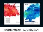 impressive watercolor brochure...   Shutterstock .eps vector #672207364