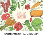 healthy food colorful frame... | Shutterstock .eps vector #672209284