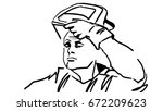 welder is taking off the mask... | Shutterstock .eps vector #672209623