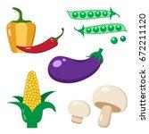 colorful set of vegetables ...   Shutterstock .eps vector #672211120