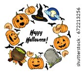 a frame from halloween... | Shutterstock .eps vector #672213256