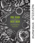 pub food vertical frame  vector ... | Shutterstock .eps vector #672215296