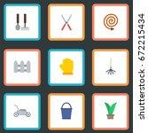 flat icons scissors  tools ... | Shutterstock .eps vector #672215434