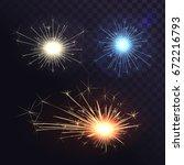 vector set of sparks  bengal... | Shutterstock .eps vector #672216793