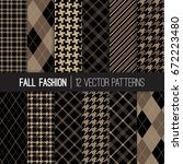 fall fashion textile patterns... | Shutterstock .eps vector #672223480