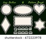 set of design elements  lace... | Shutterstock .eps vector #672223978