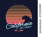 80s style vintage california... | Shutterstock .eps vector #672224389