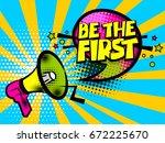 pop art advertising first...   Shutterstock .eps vector #672225670