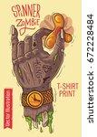 hand holds the spinner. zombie... | Shutterstock .eps vector #672228484