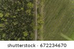 aerial farmland and forest  | Shutterstock . vector #672234670