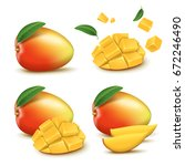 fresh mango design elements ... | Shutterstock . vector #672246490