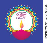 creative happy diwali greeting... | Shutterstock .eps vector #672258358