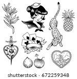 tropical exotic sea vector set. ... | Shutterstock .eps vector #672259348