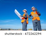 two engineers at airport runway | Shutterstock . vector #672262294