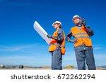 two engineers at airport runway | Shutterstock . vector #672262294