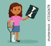 african woman broken leg | Shutterstock .eps vector #672262678