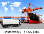 truck container commercial... | Shutterstock . vector #672271588