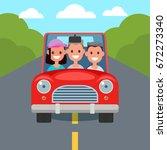 flat design car driving... | Shutterstock .eps vector #672273340