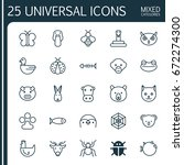 zoology icons set. collection... | Shutterstock .eps vector #672274300