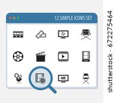 set of 12 editable cinema icons.... | Shutterstock .eps vector #672275464
