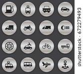 set of 16 editable transport... | Shutterstock .eps vector #672279493