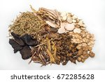 chinese traditional herbal ... | Shutterstock . vector #672285628