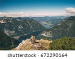 young man relaxing on the edge... | Shutterstock . vector #672290164