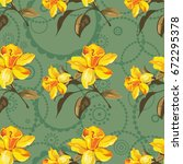 seamless floral pattern with... | Shutterstock .eps vector #672295378