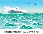 tropical island wave. sea... | Shutterstock . vector #672295570