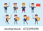 set of businessman characters... | Shutterstock .eps vector #672299290