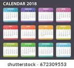 2018 Year Calendar Starts Sunday
