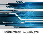 future technology  blue cyber... | Shutterstock .eps vector #672309598
