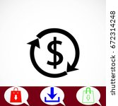 dollars sign icon  flat design... | Shutterstock .eps vector #672314248