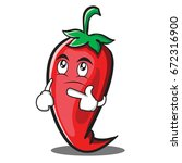 thinking red chili character...   Shutterstock .eps vector #672316900