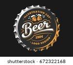 mug beer logo on cap   vector... | Shutterstock .eps vector #672322168