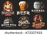 set beer logo   vector... | Shutterstock .eps vector #672327433