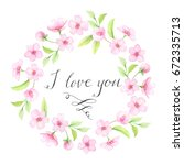 i love you template. floral... | Shutterstock . vector #672335713