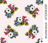 seamless floral pattern with... | Shutterstock .eps vector #672336100