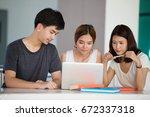 three asia teenage students...   Shutterstock . vector #672337318