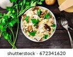 an overhead photo of a mushroom ...   Shutterstock . vector #672341620
