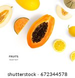 creative layout made of fruits. ... | Shutterstock . vector #672344578