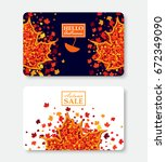 autumn sale and hello autumn... | Shutterstock .eps vector #672349090