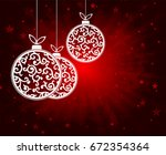 red christmas background with... | Shutterstock . vector #672354364