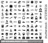 100 oceanologist icons set in...   Shutterstock .eps vector #672358216