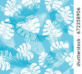 seamless pattern of tropical... | Shutterstock .eps vector #672358906